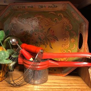 VTG 3 mid century RED, pastry blade, scoop, masher